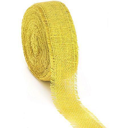 Ruban en toile de jute, jaune, 6 cm, 25 m
