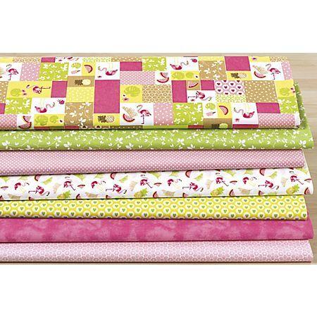 """buttinette Lot de 7 coupons de tissu patchwork """"flamant"""", rose vif/rose/vert"""