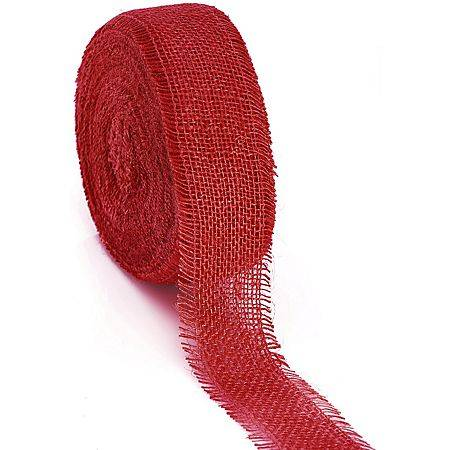 Ruban en toile de jute, rouge, 6 cm, 25 m