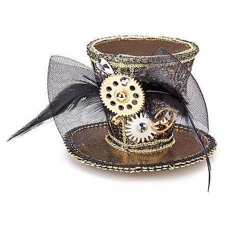 "Mini-chapeau ""Steampunk"", or/noir"