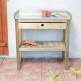 Cémonjardin Table de préparation Bleuet en bois