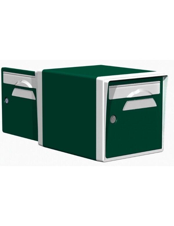 Creastuce Boite aux lettres 2 portes vert foret-blanche - CREASTUCE-03-DF