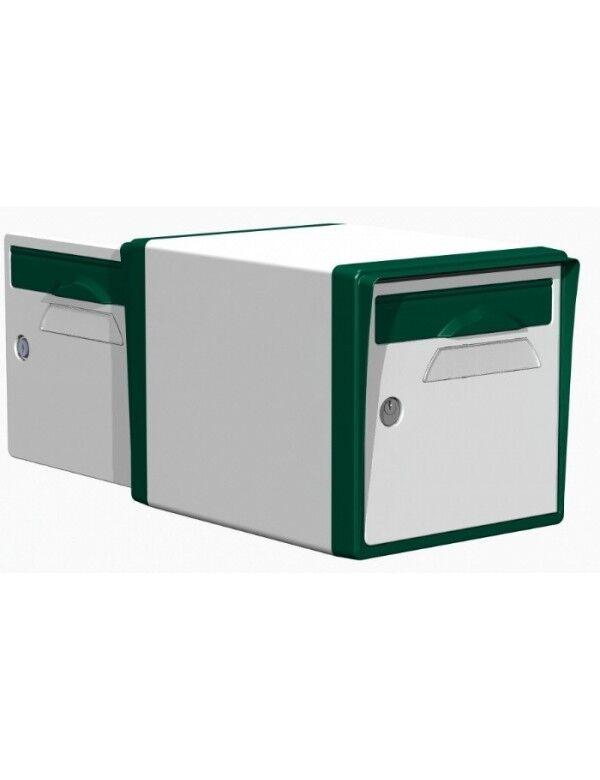 Creastuce Boite aux lettres 2 portes blanche-vert foret - CREASTUCE-04-DF