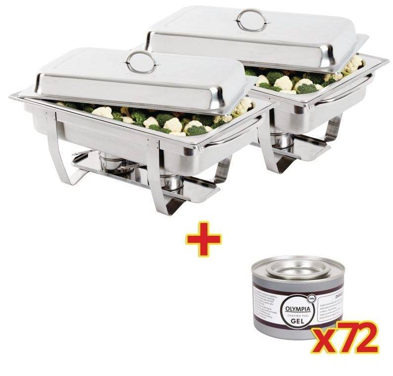 CHRselect Ensemble 2x Chafing Dish Inox 9 Litres + 72x Gel Combustile 200g