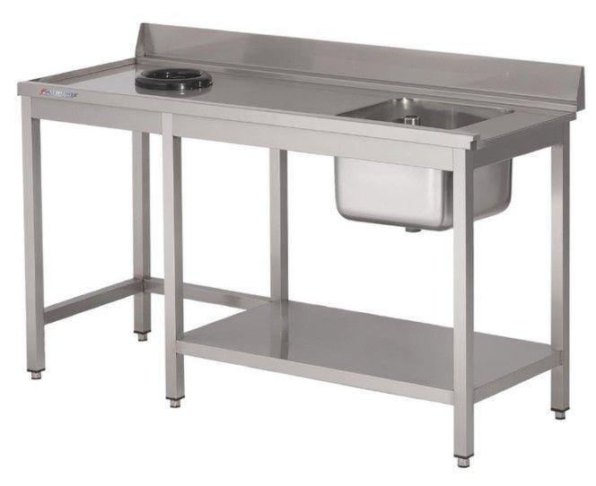 Gastro M Table d'entrée Lave-Vaisselle INOX Bac à Droite Dosseret et Trou 1400x700x850(h)mm
