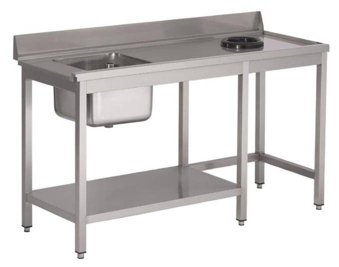 Gastro M Table d'entrée Lave-Vaisselle INOX Bac à Gauche Dosseret et Trou 1400x700x850(h)mm