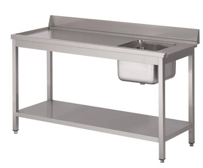 Gastro M Table d'entrée Lave-Vaisselle INOX Bac à Droite Dosseret et Etagere Basse 1400x700x850(h)mm