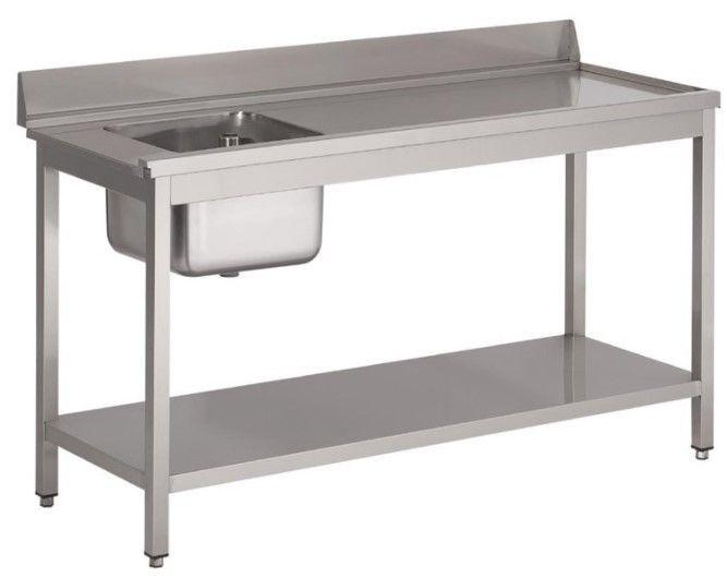 Gastro M Table d'entrée Lave-Vaisselle INOX Bac à Gauche Dosseret et Etagere Basse 1400x700x850(h)mm
