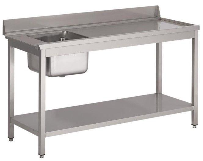 Gastro M Table d'entrée Lave-Vaisselle INOX Bac à Gauche Dosseret et Etagere Basse 1000x700x850(h)mm