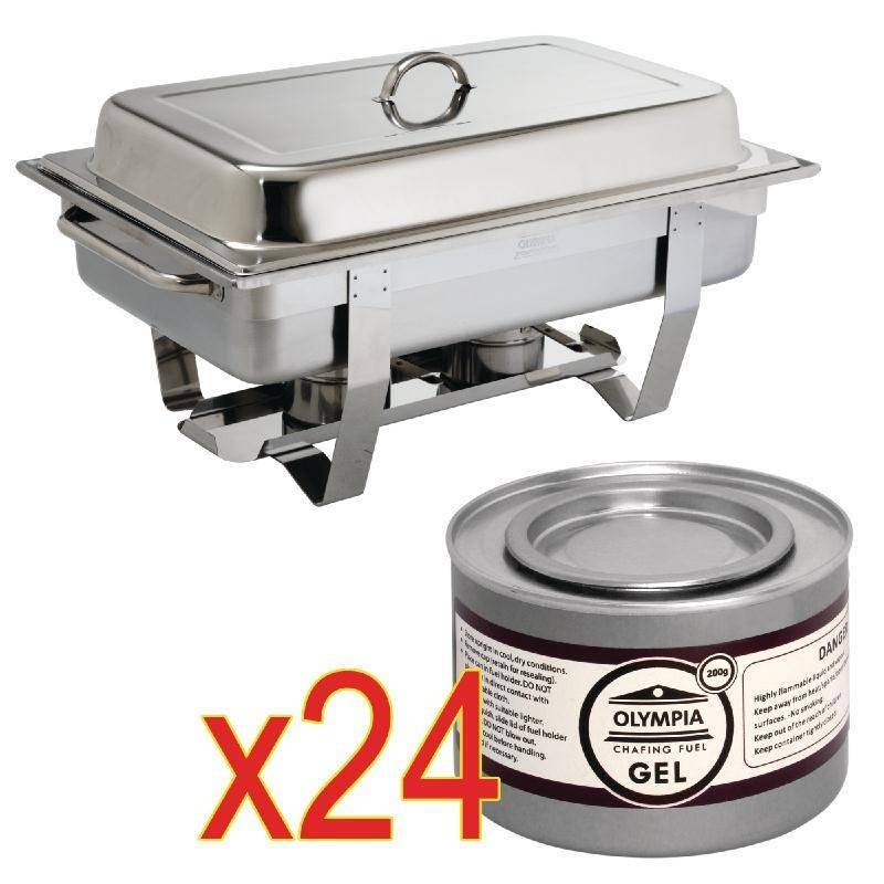 CHRselect Ensemble Chafing Dish Inox 9 Litres + 24x Gel Combustible 200g