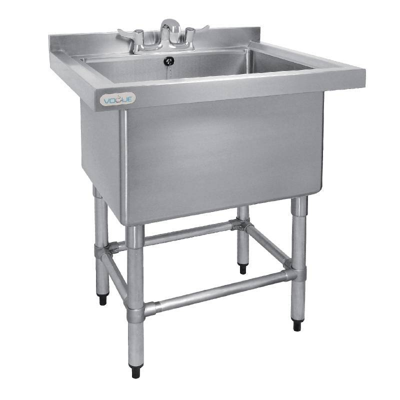 CHRselect Evier Profond 400mm Inox 100 Litres + Bord 770(l)x600(P)x900(H)mm