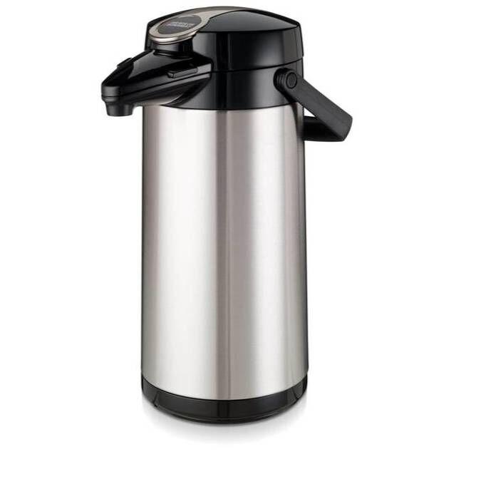Bravilor Bonamat Pot à Pompe Isotherme Pot intérieur en verre et boîtier en acier inoxydable 2,2 litres Ø164x (H) 378mm