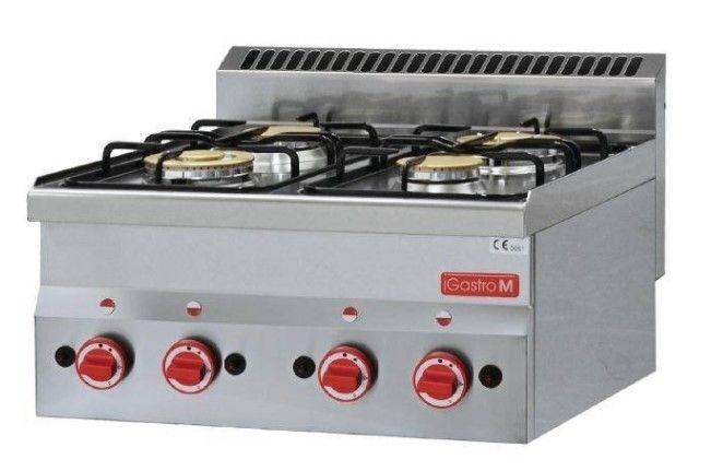 Gastro M Cuisinière à Gaz Inox - 4 Feux - 60/60PCG - 12,1kW - 600x600x280(H)mm