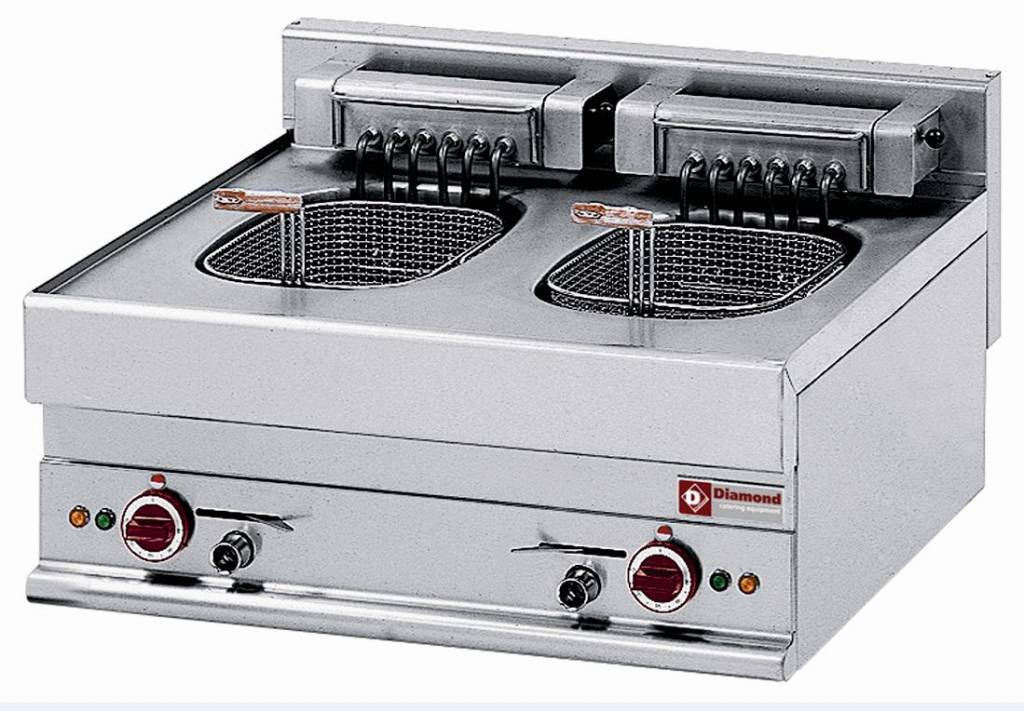 Diamond Friteuse Electrique Double Inox 10 Litres Top 400V 15kW 700x650x(H)280/380mm