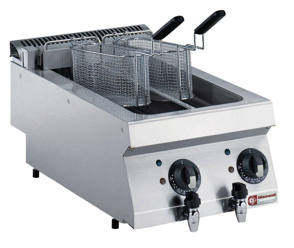 Diamond Friteuse Electrique 2x5 Litres Top Inox 400V/9kW 400x700x250/320(h)mm