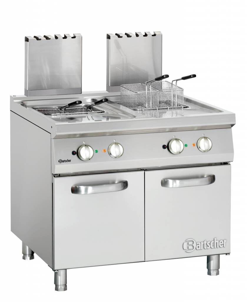 Bartscher Friteuse à Gaz Inox - Série 900 - 2x 20 Litres - 36kW - 900x900x850-900(h)mm