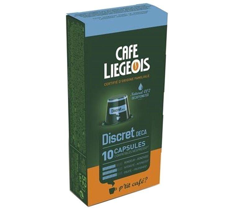 Nespresso 10 Capsules compatible Nespresso® DISCRET décaféiné- Café Liegeois