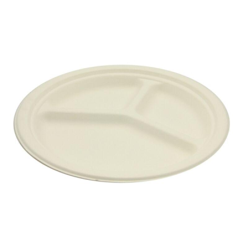 50 assiettes rondes à compartiments biodégradables 26 cm