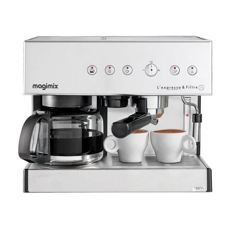 Machine à café combinée chromée avec cafetière filtre Magimix 11423