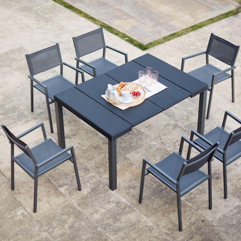 Console résine avec 6 chaises et 2 housses de protection
