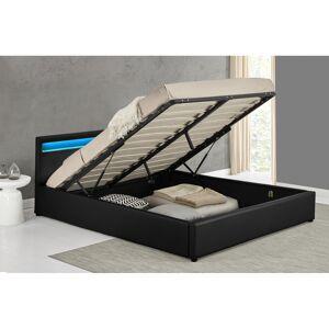 Lit Harrow 160x200cm Noir LED avec coffre - Publicité