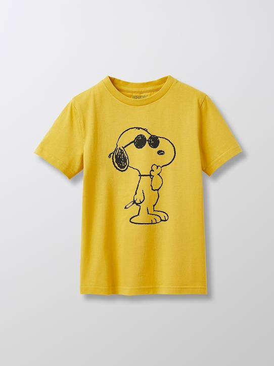 SNOOPY T-shirt coton bio Cyrillus X PEANUTS™ Collection Snoopy jaune soleil taille: 14A