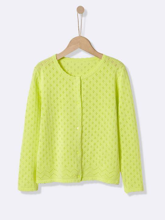 CYRILLUS Cardigan pointelle fille vert acide taille: 14A