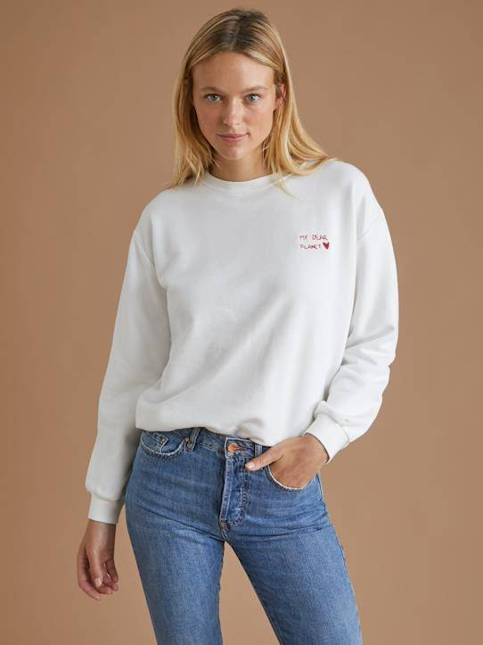 CYRILLUS Sweat Coton Bio et fibres recyclées - Collection My Dear Planet ecru taille: XL