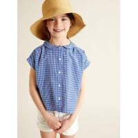 CYRILLUS Chemise col claudine fille micro vichy bleu taille: 10A <br /><b>13.30 EUR</b> Cyrillus