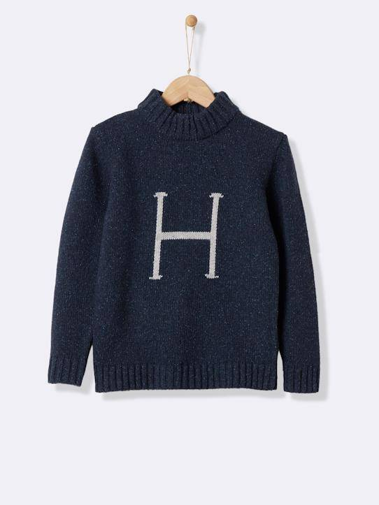 HARRY POTTER Pull col montant collection Harry Potter bleu chiné taille: 10A