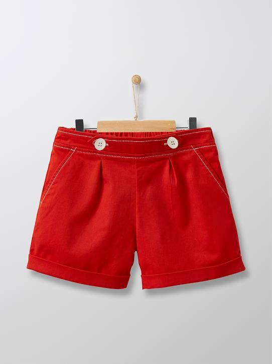 CYRILLUS Short chino fille rouge tomate taille: 12A