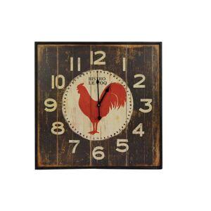 Décoration d'Autrefois Horloge Ancienne Murale Carre Bistrot Le Coq 60cm - Fer - Marron - Publicité