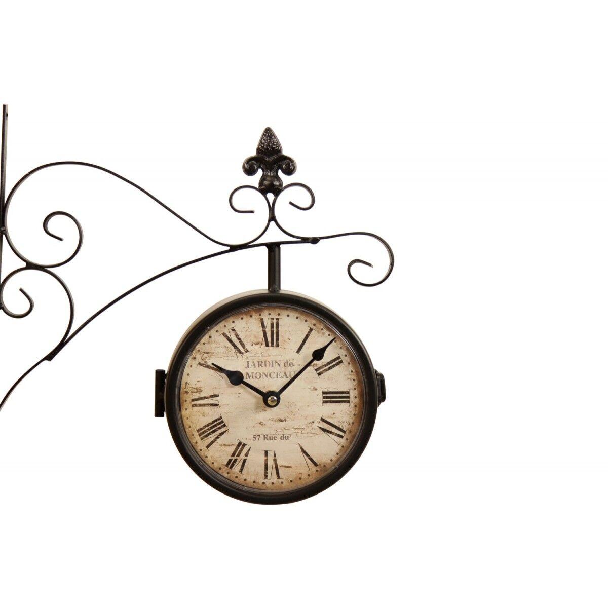 Décoration d'Autrefois Horloge De Gare Ancienne Double Face Jardin de Monceau 16cm - Fer Forgé - Blanc