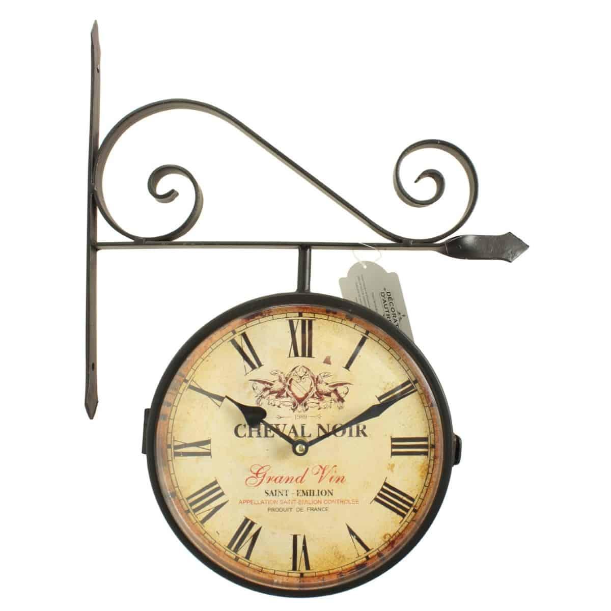 Décoration d'Autrefois Horloge De Gare Ancienne Double Face Cheval Noir 24cm - Fer Forgé - Blanc