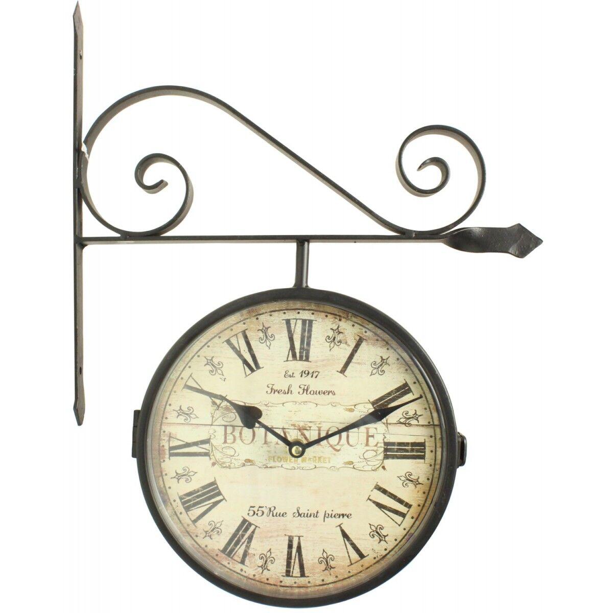 Décoration d'Autrefois Horloge De Gare Ancienne Double Face Botanique 24cm - Fer Forgé - Blanc