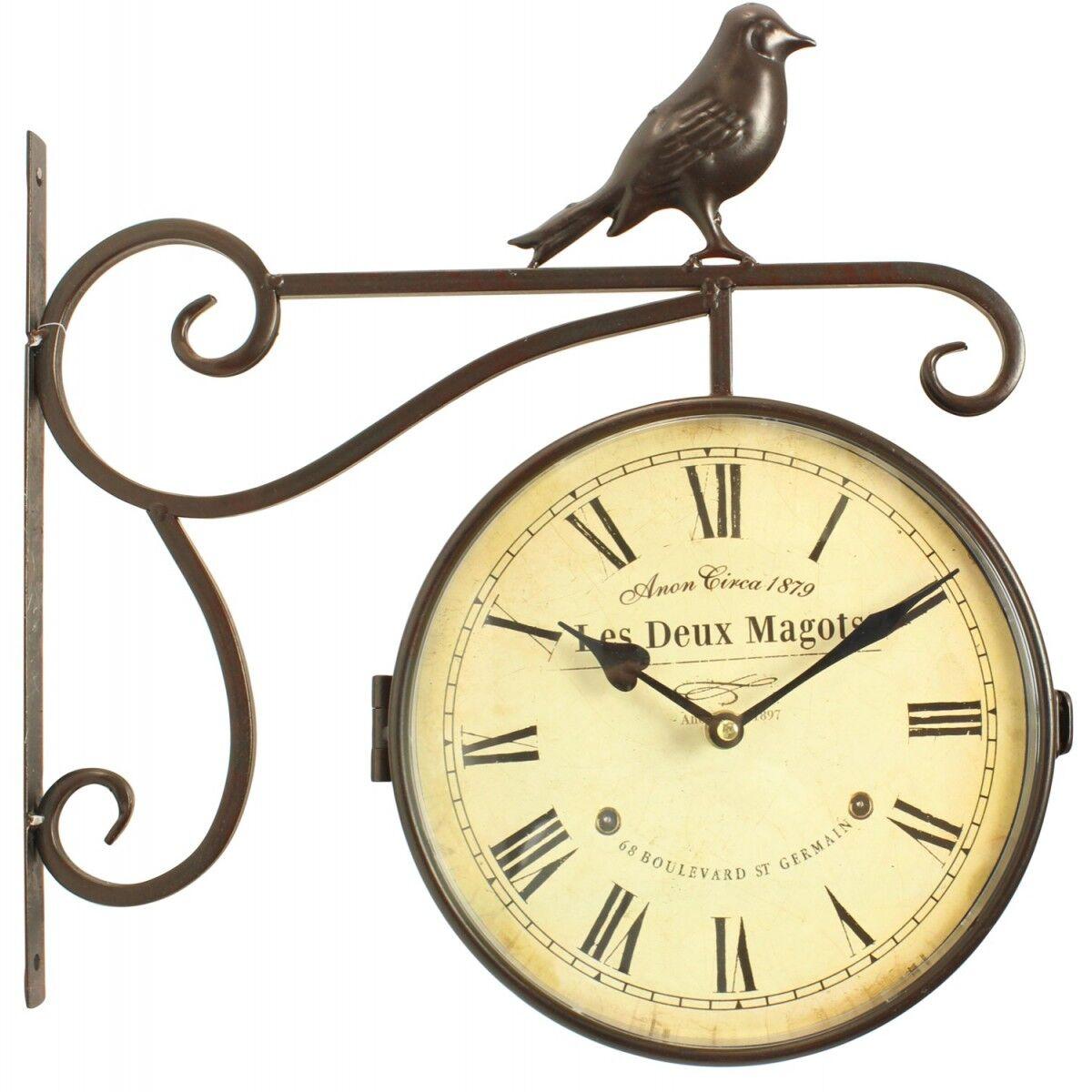 Décoration d'Autrefois Horloge De Gare Ancienne Double Face Les Deux Magots 24cm - Fer Forgé - Blanc