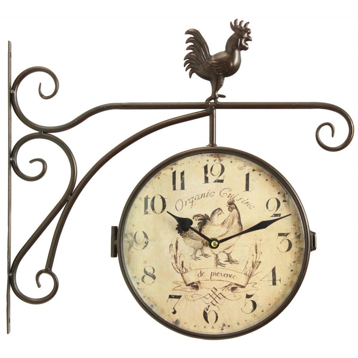 Décoration d'Autrefois Horloge De Gare Ancienne Double Face Organic Cuisine 24cm - Fer Forgé - Blanc