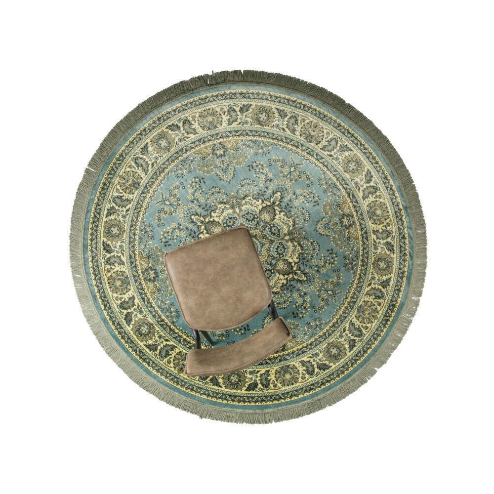 Dutchbone Bodega - Tapis persan rond à franges vert