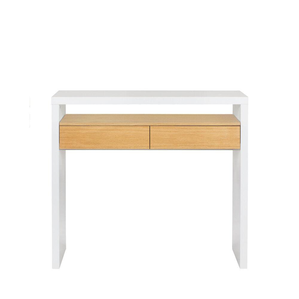 Woodman 10B - Bureau en bois 100x36cm - Couleur - Blanc / Chêne