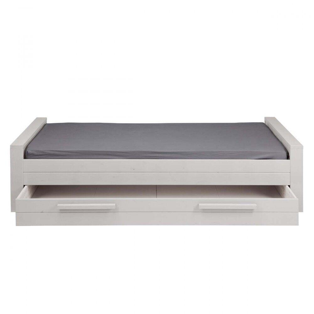 Woood Denis - Cadre de lit en bois fsc 90x200 - Couleur - Gris clair