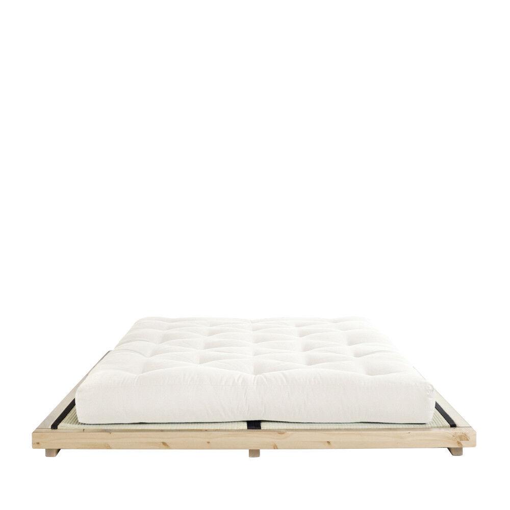 Karup Design Dock - Ensemble lit en bois naturel 160x200cm tatami et futon en latex épaisseur 18cm