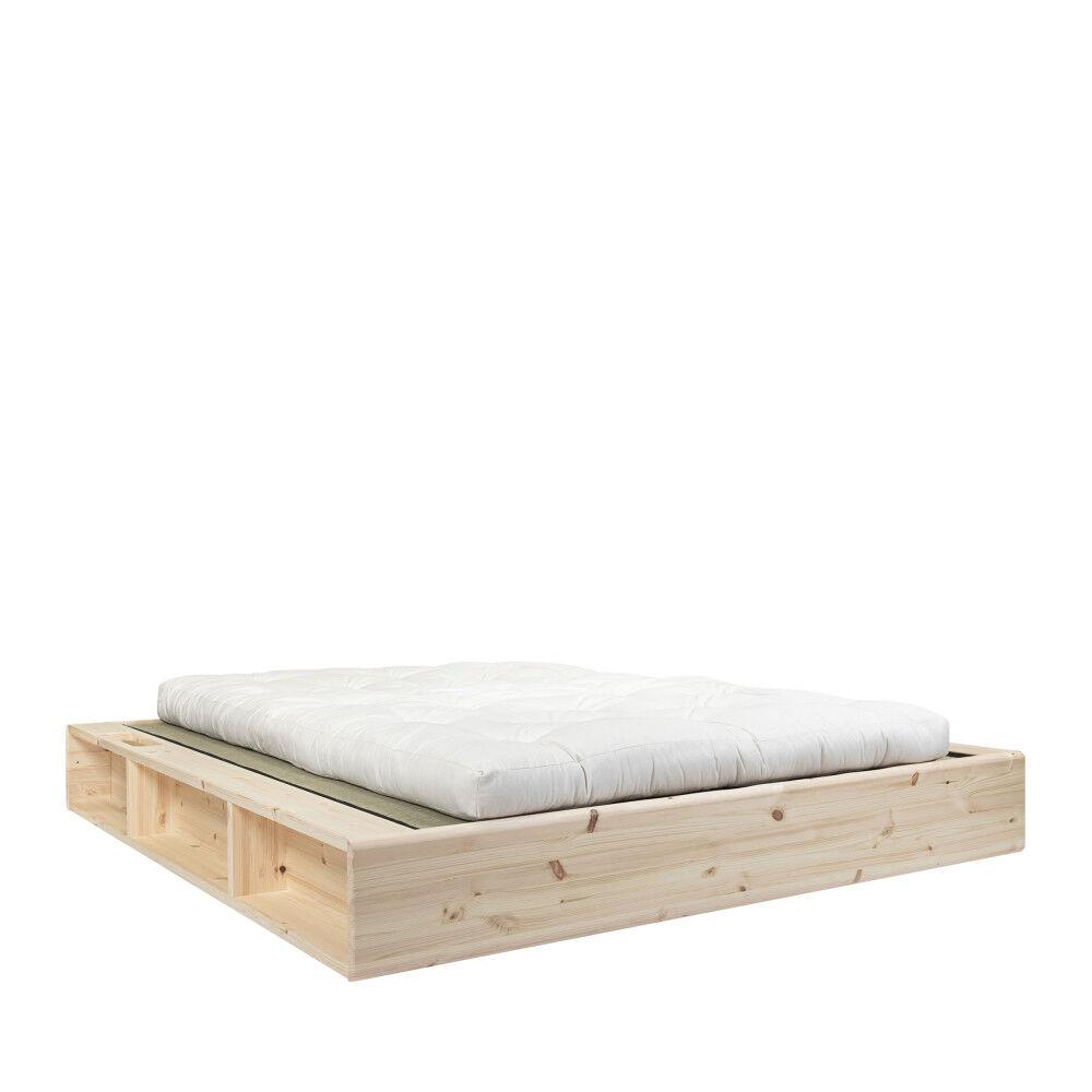 Karup Design Ziggy - Ensemble lit en bois naturel 180x200cm tatami et futon en latex épaisseur 18cm