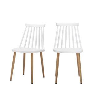 Bloomingville Bajo - 2 chaises à barreaux en métal - Couleur - Blanc / Naturel