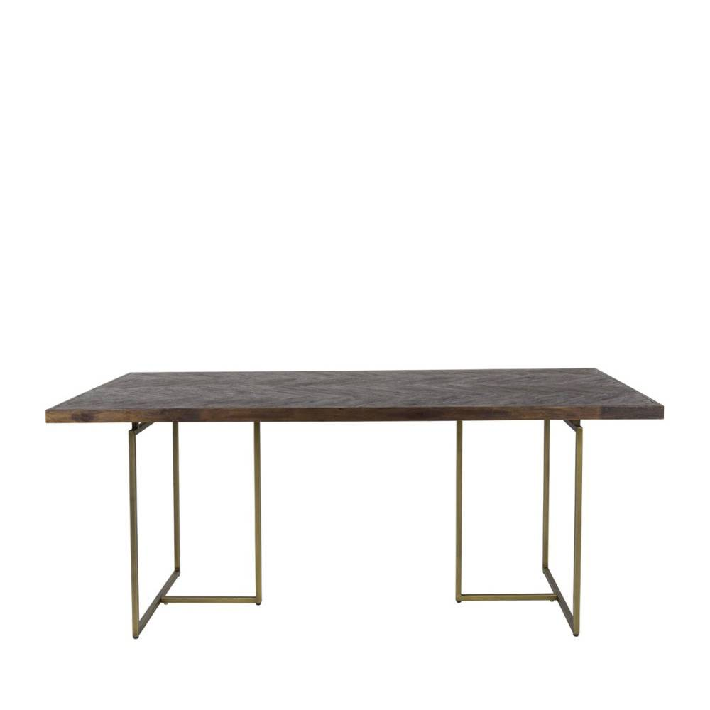 Dutchbone Class - Table à manger chevrons bois et laiton