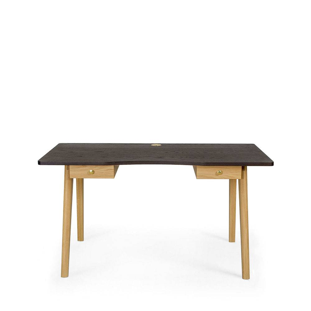 Woodman Nice Desk - Bureau en bois 2 tiroirs - Couleur - Chêne fumé/Chêne