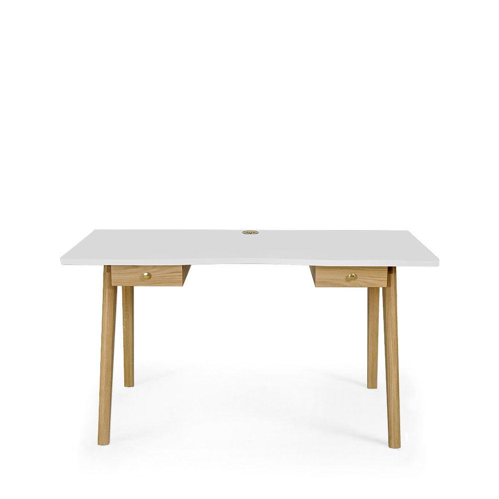 Woodman Nice Desk - Bureau en bois 2 tiroirs - Couleur - Blanc / Chêne