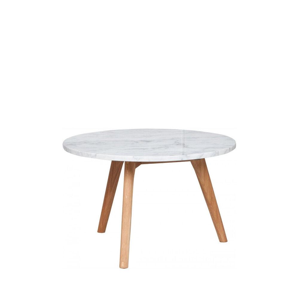 Zuiver White Stone - Table basse ronde bois et marbre L