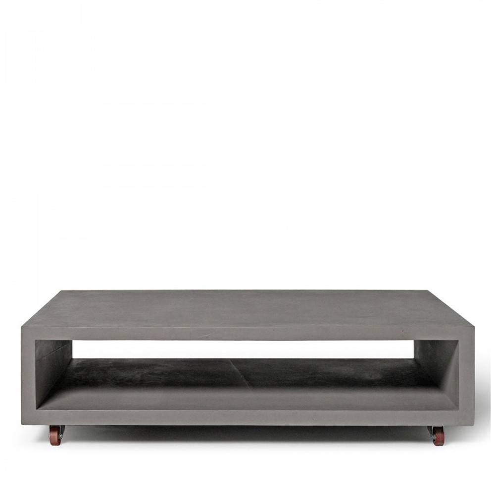 Lyon Béton Monobloc - Table basse rectangulaire XL sur roulettes