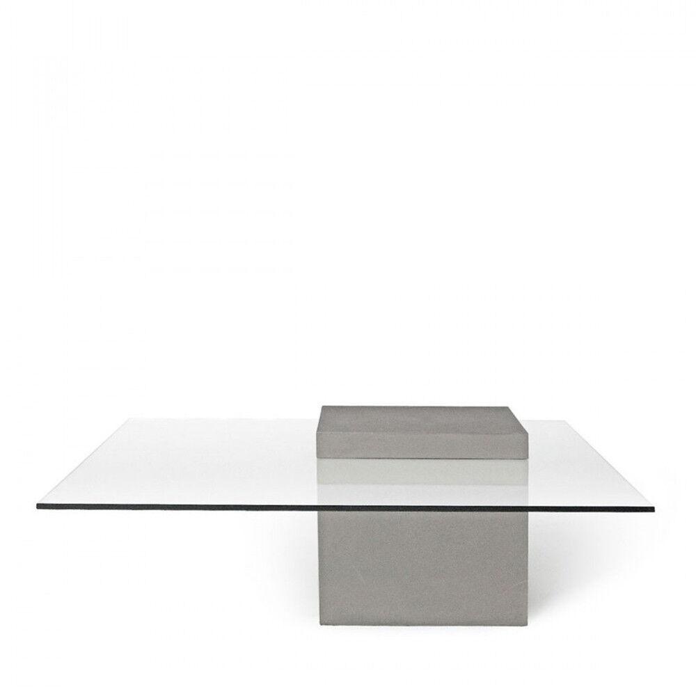 Lyon Béton Verveine - Table basse carrée béton & verre