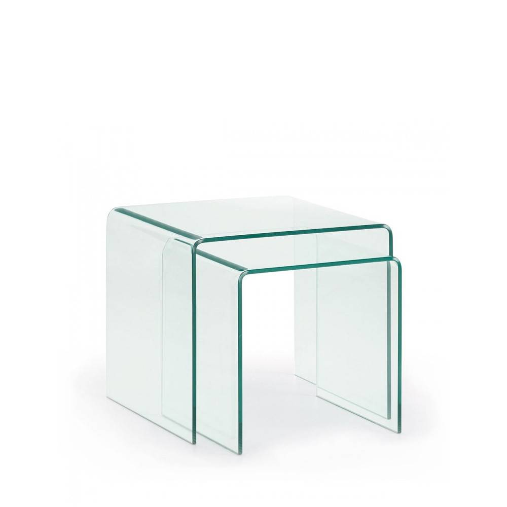 Burano - 2 tables basses gigognes en verre